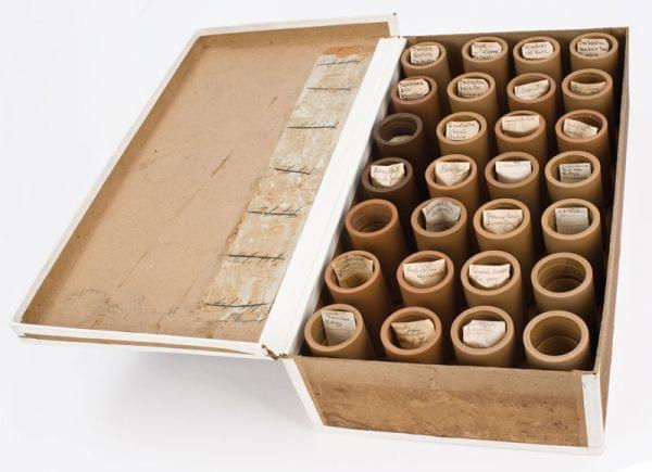 A box of wax cylinder recordings found by Archephone contributor Michael Devecka, produced at the 1897 Methodist camp meeting in Ocean Grove, New Jersey.