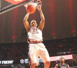 Illinois' Malcolm Hill punctuates a fast break Tuesday night game against IUPUI