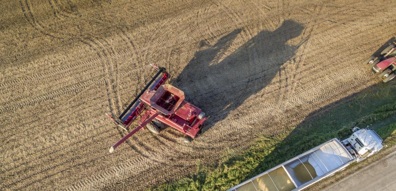 A central Illinois farmer harvests corn toward the end of the 2016 harvest season.