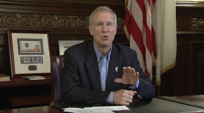 Gov. Bruce Rauner during his Facebook Live appearance.