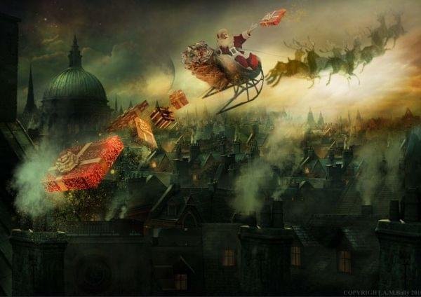 Painting of Santa flying in his sleigh with reindeer at night