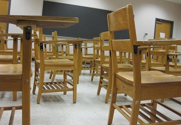 Chairs in a school classroom.