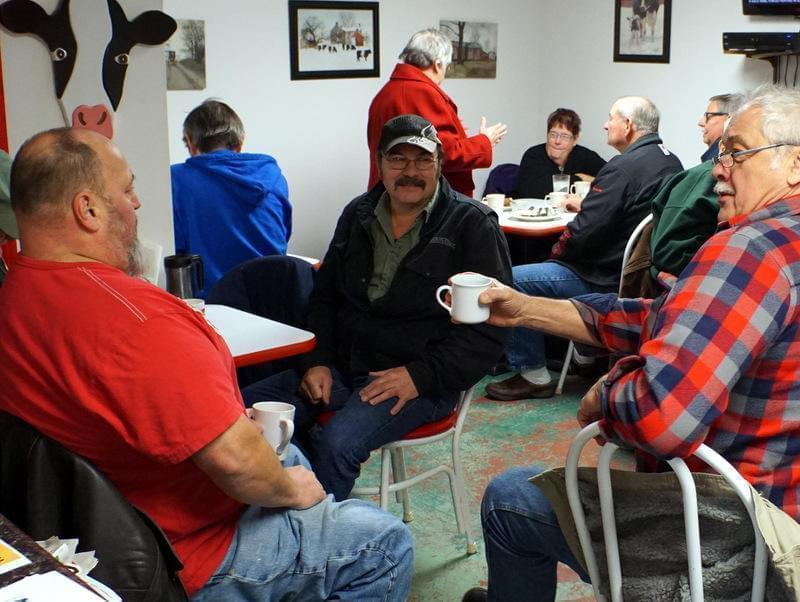 Some of the regulars at Double-B Cafe in Beloit share conversation as they wait for refills.