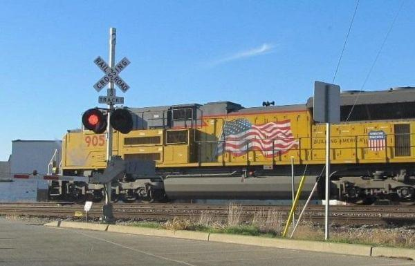 A UP train crossing through Rochelle, Ill.