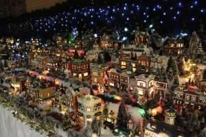 Roberta Morris' creation, the tiny village of 500 pieces on display through New Year's Day at Urbana's Lincoln Square Mall.
