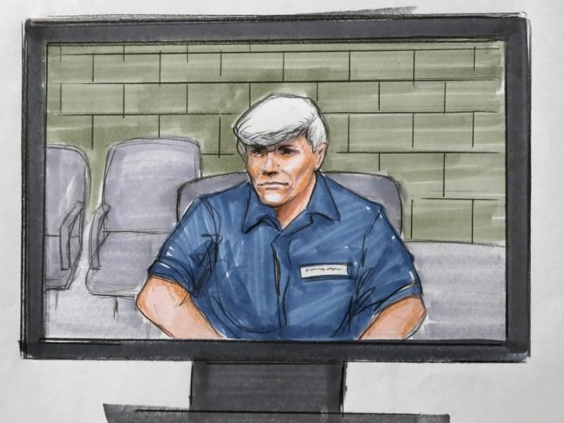 In this Tuesday, Aug. 9, 2016 courtroom sketch, former Illinois Gov. Rod Blagojevich, right, appears via video from a Colorado prison during his re-sentencing in a federal courtroom in Chicago.