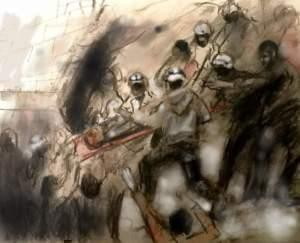 One of Marc Nelson's pieces featuring the White Helmet rescue workers.