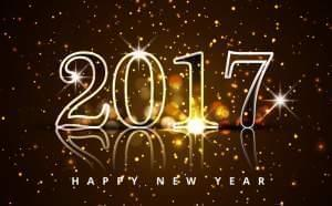 2017, Happy New Year with gold fireworks