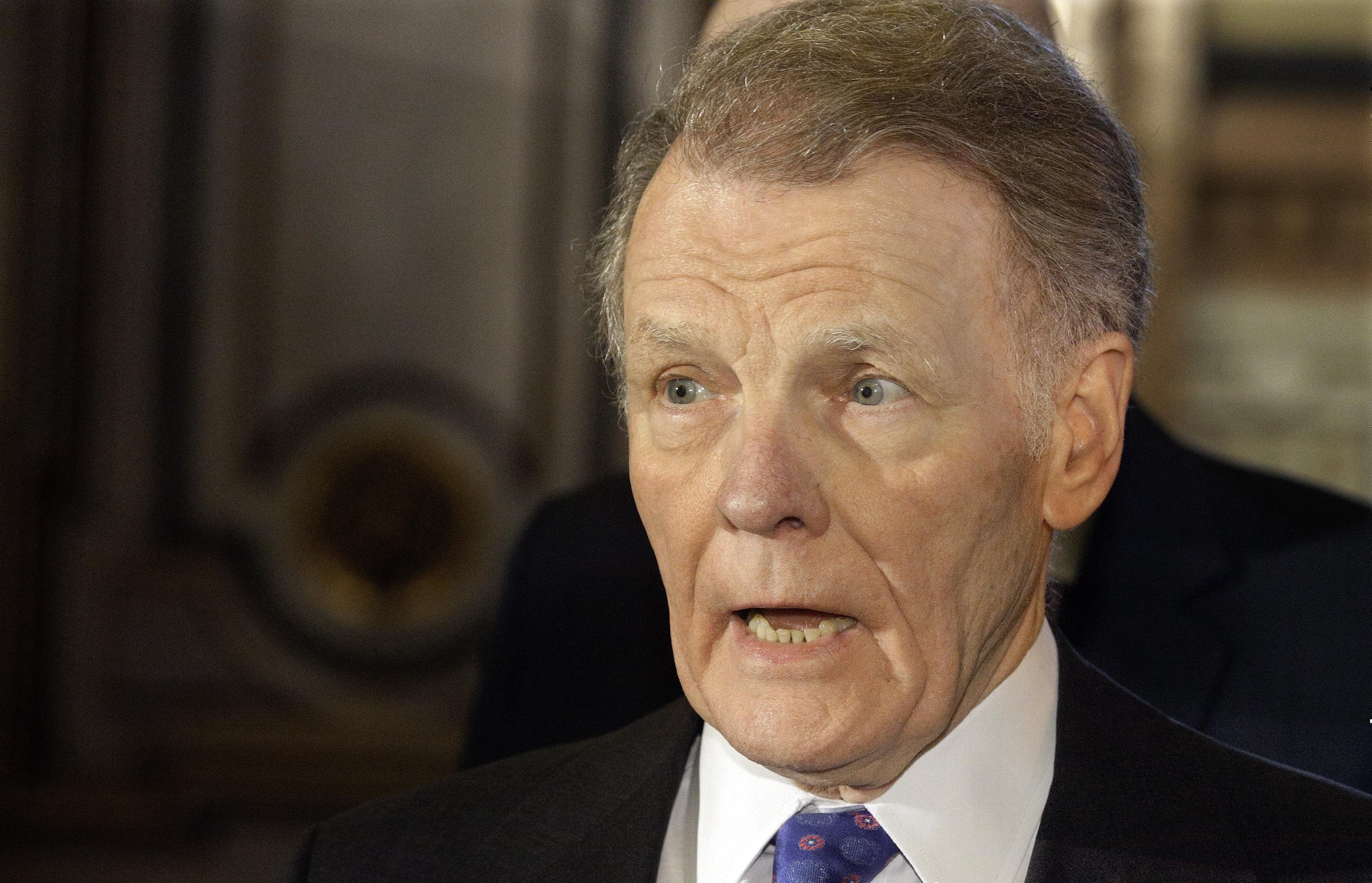 In this Nov. 30, 2016 file photo, Illinois Speaker of the House Michael Madigan, D-Chicago, speaks to reporters in Springfield, Ill.