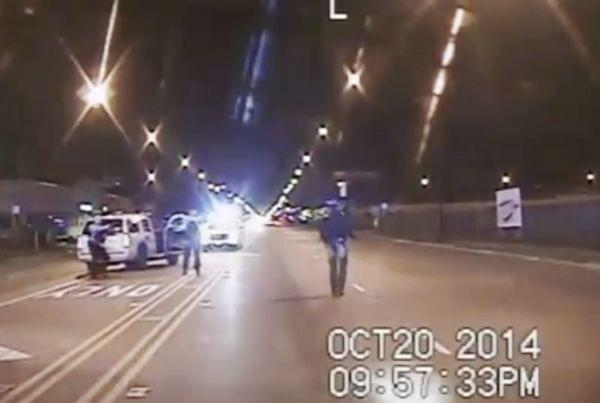 - In this Oct. 20, 2014 frame from dash-cam video provided by the Chicago Police Department, Laquan McDonald, right, walks down the street moments before being fatally shot by CPD officer Jason Van Dyke sixteen times in Chicago