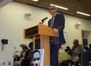 U of I Professor Chris Benson delivered the keynote address at the Rev. Dr. Martin Luther King Jr. Celebration and Awards event Friday at Parkland College.