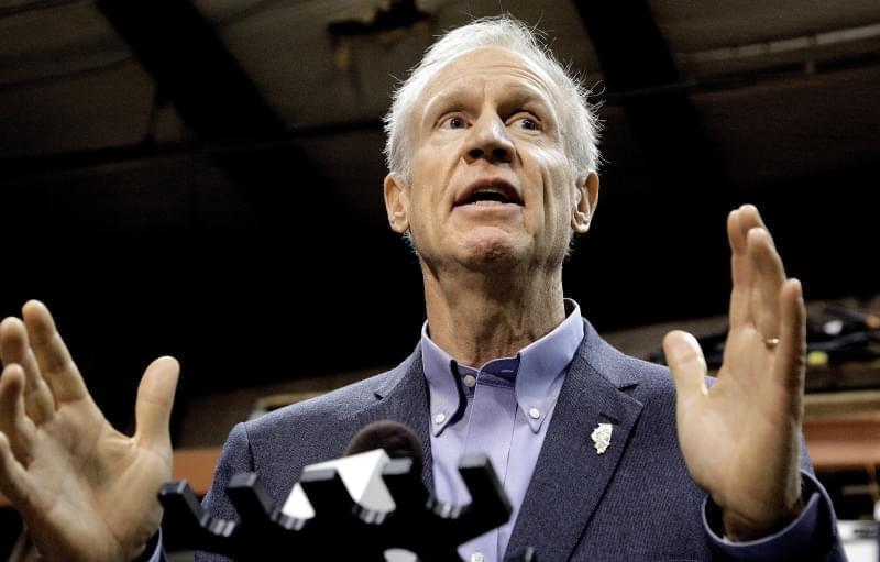 In this Wednesday, Nov. 16, 2016, file photo, Illinois Gov. Bruce Rauner speaks to reporters after meeting with legislative leaders during veto session in Springfield.
