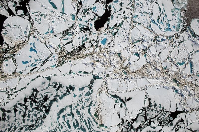 Chunks of Arctic sea ice, melt ponds and open water are all seen in this image captured by NASA's Digital Mapping System instrument during an Operation IceBridge flight over the Chukchi Sea in July 2016.