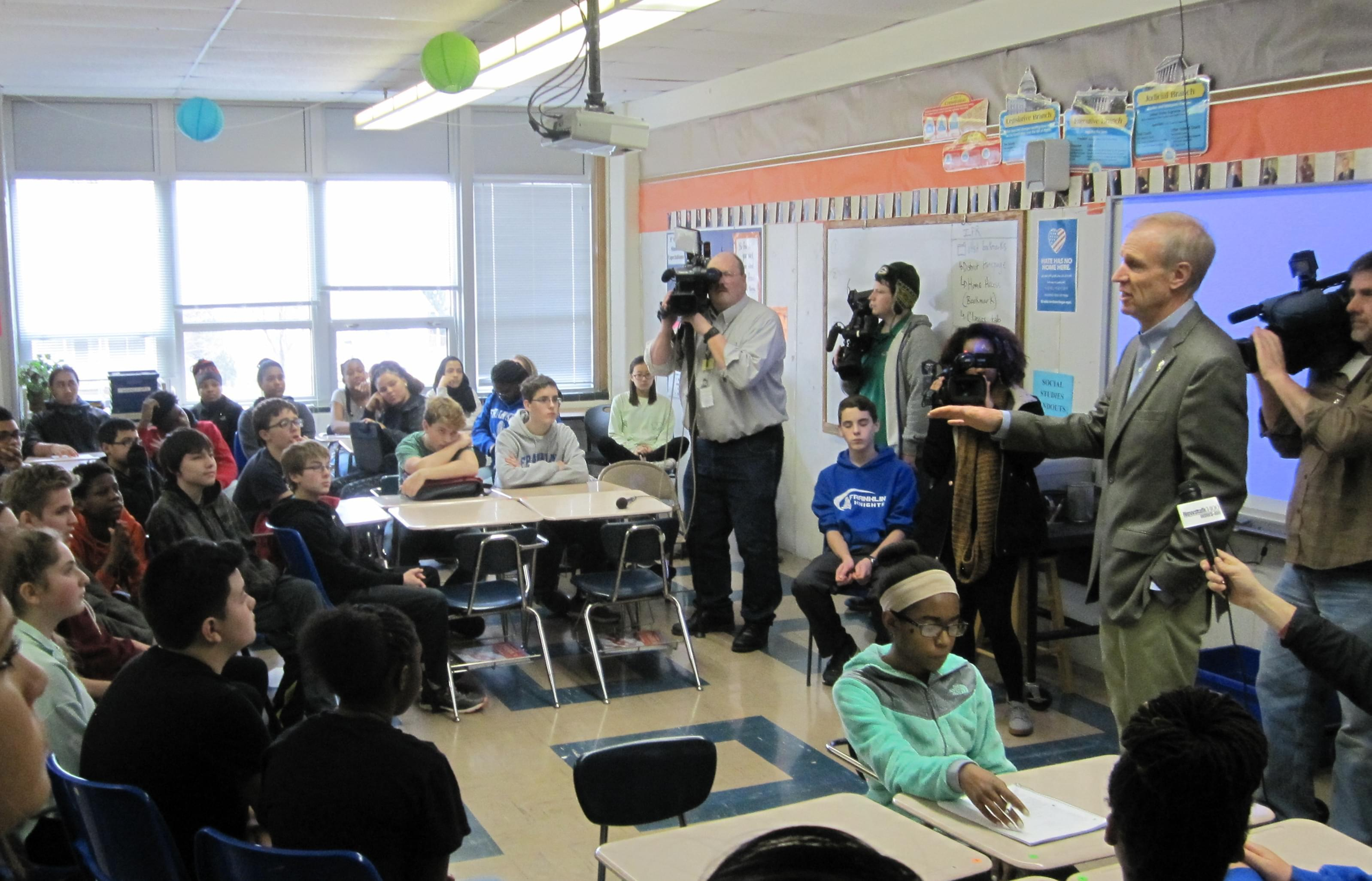 Gov. Bruce Rauner, visiting a class at Franklin Middle School in Champaign.