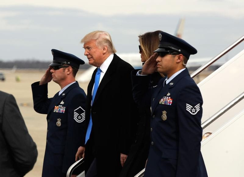 President-elect Donald Trump and his wife Melania arrive at Andrews Air Force Base, Md., Thursday, Jan. 19, 2017, in advance of Friday's inauguration.