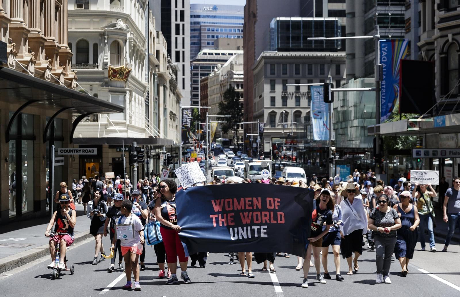 Protesters demonstrate against new U.S. President Donald Trump in Sydney, Australia.
