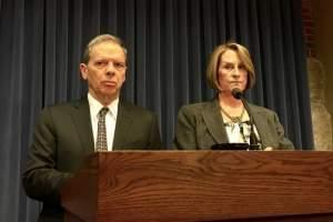 Senate President John Cullerton and Republican Leader Christine Radogno speak to reporters earlier this month.