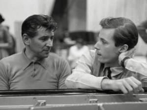 Glenn Gould and Leonard Bernstein at a piano