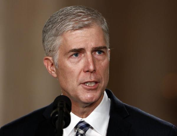 Judge Neil Gorsuch speaks in the East Room of the White House in Washington, after President Donald Trump announced Gorsuch as his nominee for the Supreme Court.