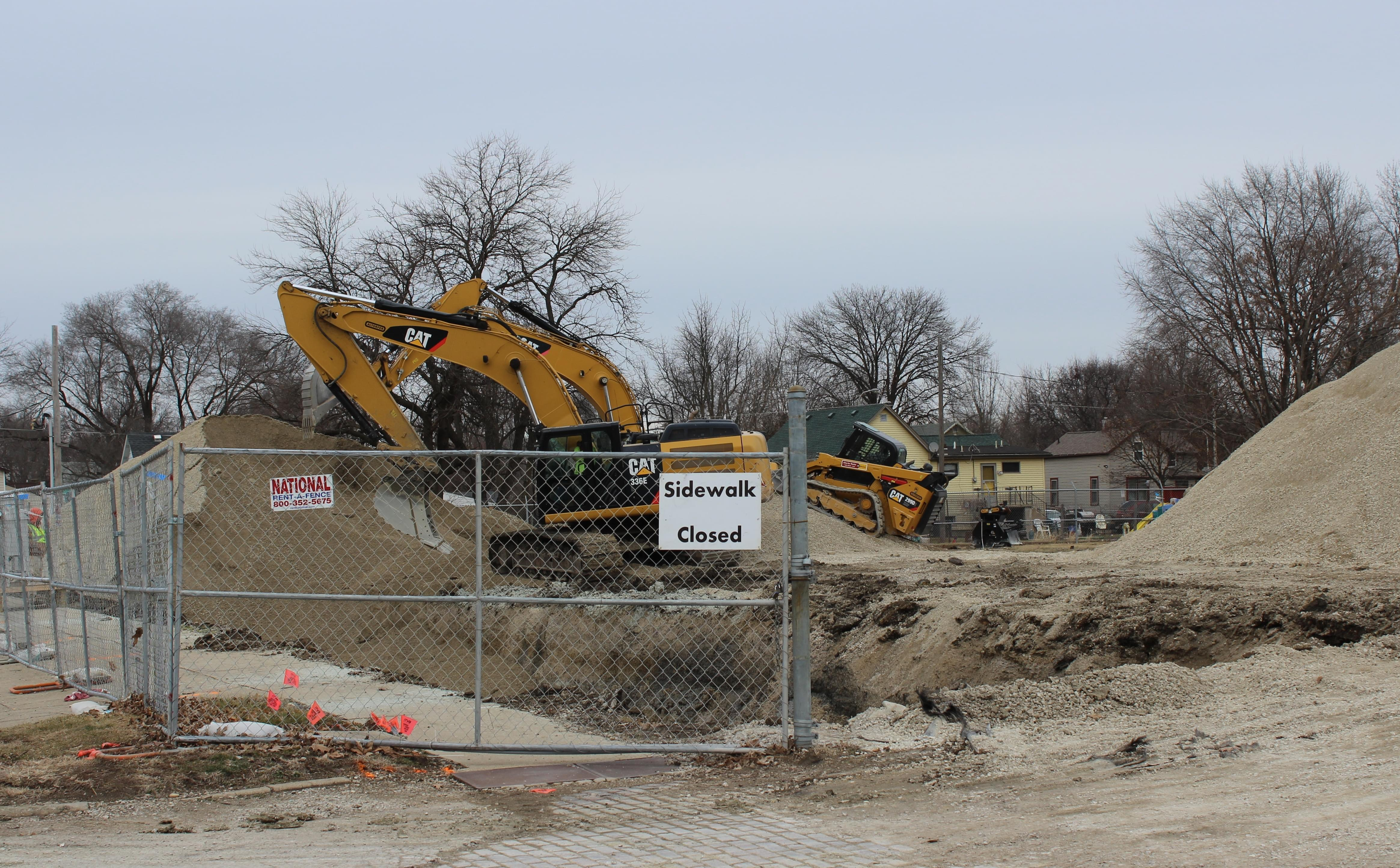 Construction equipment at the 5th and Hill manufactured gas plant site in Champaign.