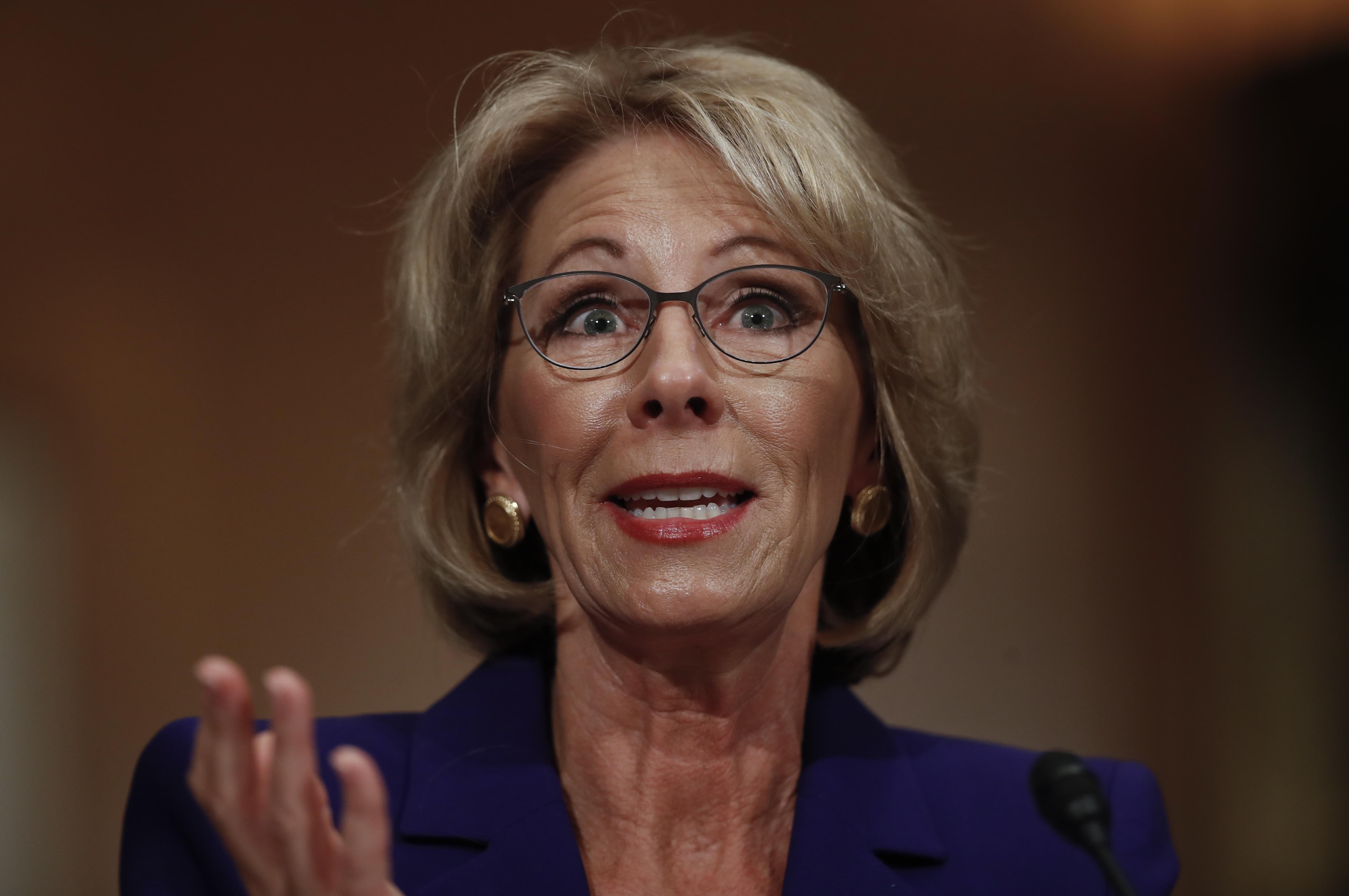 Betsy DeVos, who was confirmed as U-S Education Secretary by the Senate on Tuesday, Feb. 7th.