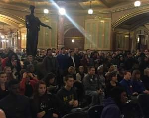 Students rally at the Capitol Rotunda Wednesday.