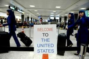A sign at Washington Dulles International Airport welcomes travelers.