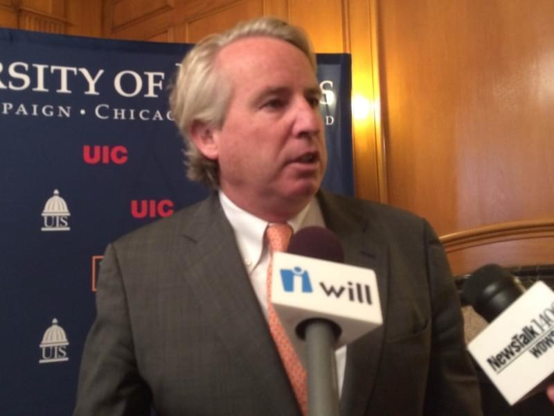 Chris Kennedy at a University of Illinois Board of Trustees meeting in 2014.