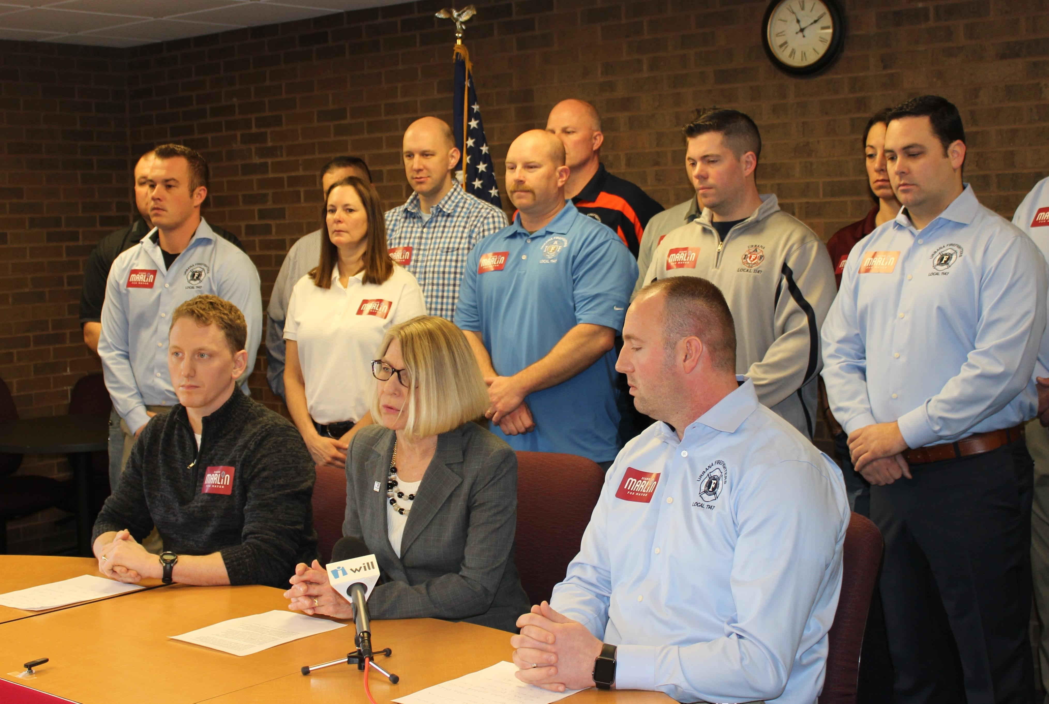 Urbana Alderwoman Diane Marlin meets with the city's local police and firefighters unions at the Illinois Law Enforcement Alarm System Building in Urbana Monday.