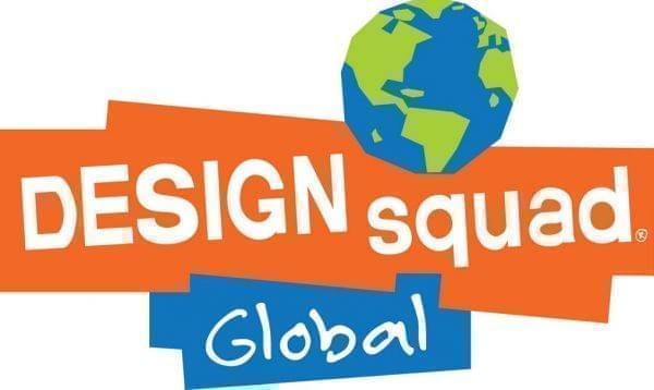 Orange and blue rectangles with globe as the Design Squad Global logo