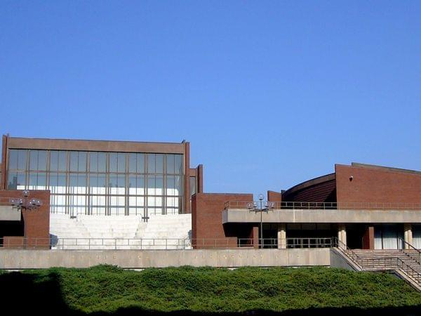 The west facade of the Krannert Center; the amphitheatre is on the left