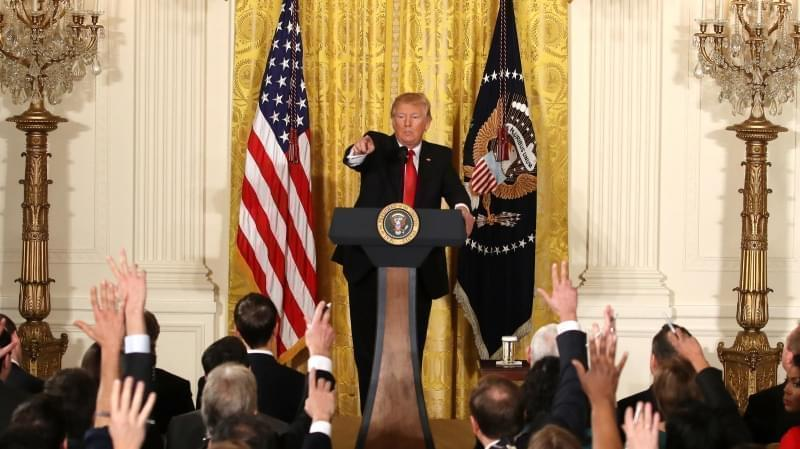 President Trump addressed a variety of topics Thursday during a news conference announcing Alexander Acosta as the new labor secretary nominee in the East Room at the White House in Washington, D.C.