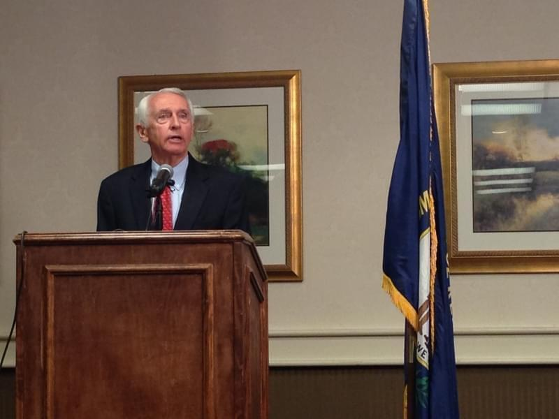 Former Democratic Gov. Steve Beshear speaks to reporters in Frankfort, Ky., on Wednesday, April 27, 2016. Beshear will deliver the Democratic response tonight to President Trump's address to Congress.