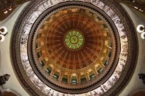View of the rotunda dome of the Illinois State Capitol building in Sprignfield.