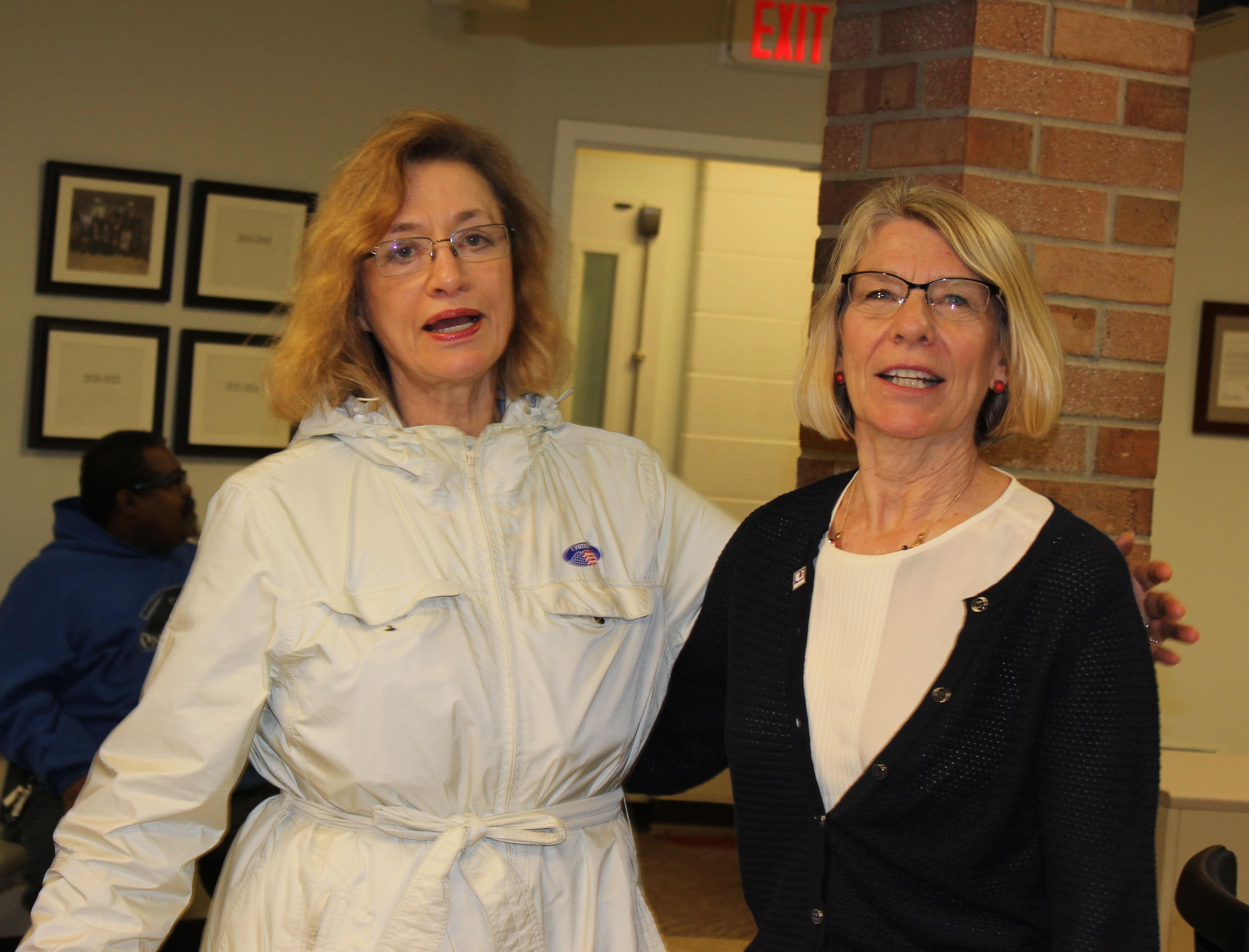 Mayor Laurel Prussing with Alderwoman Diane Marlin at the Brookens Administrative Center Tuesday night.
