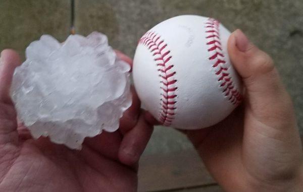 Baseball-sized hailstone that fell in Ottawa, IL