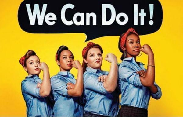 4 diverse women in denim shirts, red bandana's around their hair with arm upward making muscle. (Rosie the Riverter pose)