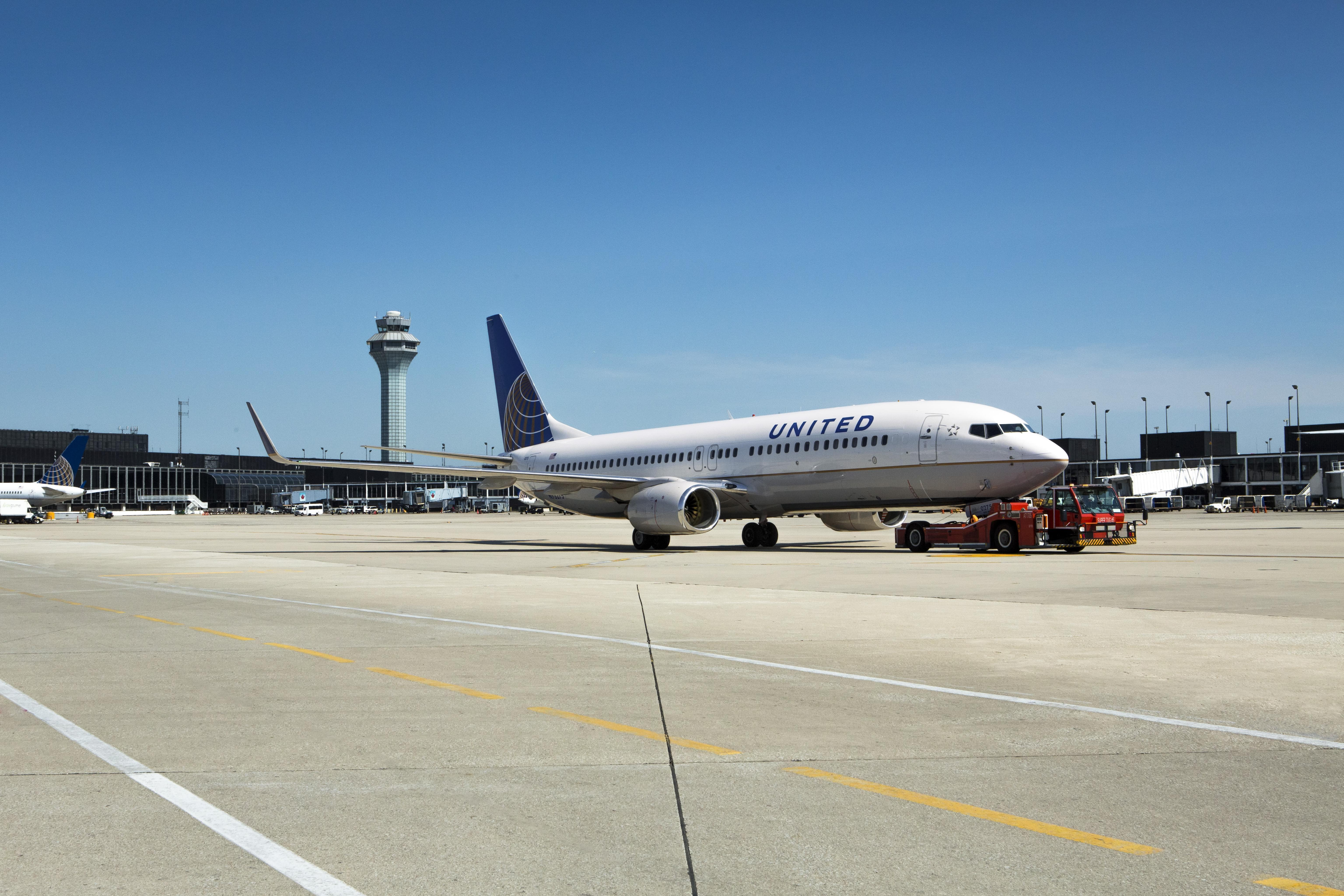 A United flight on the runway at O'Hare International Airport in Chicago.