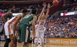 A basketball shooting a free throw underhand