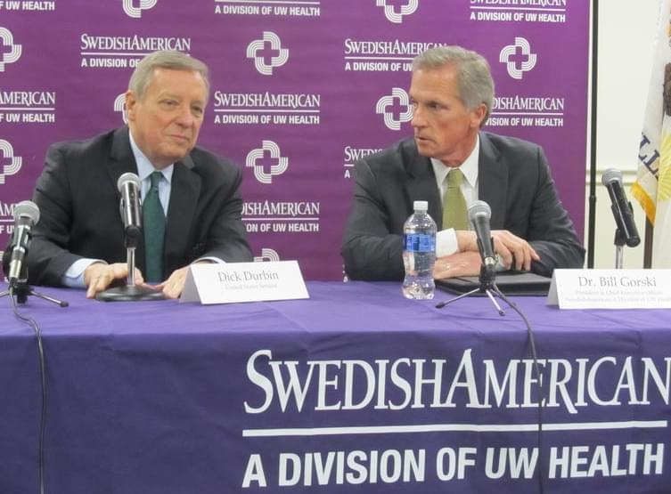 U.S. Senator Dick Durbin meets with Dr. Bill Gorski on March 10, 2017