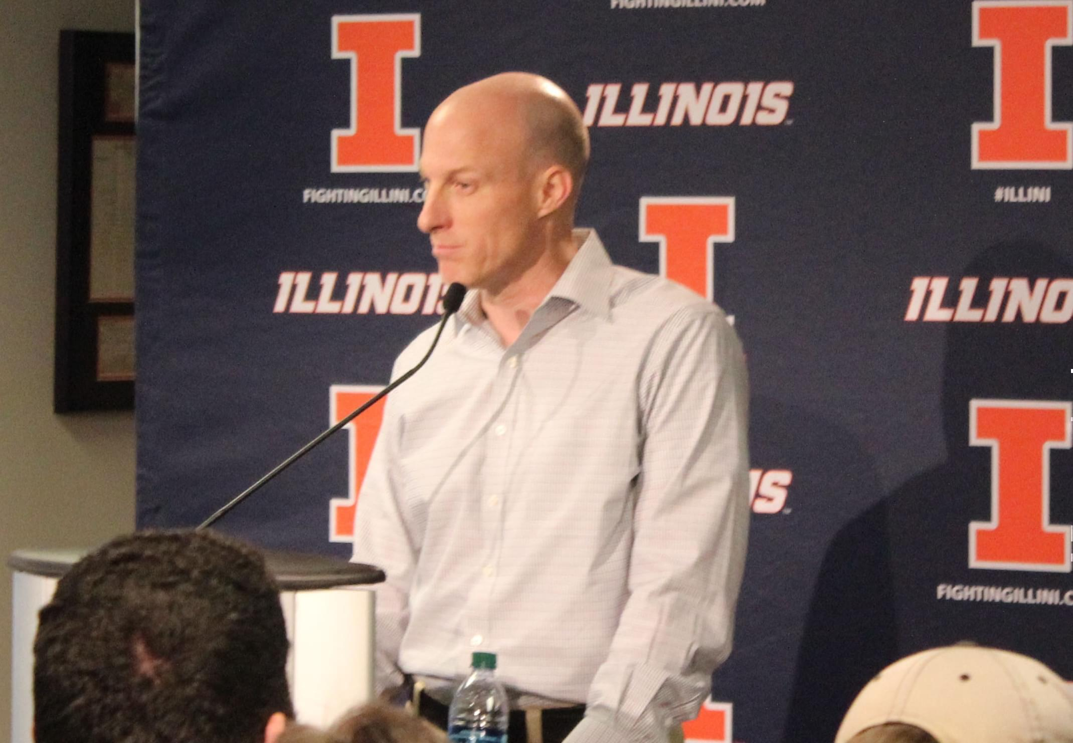 John Groce takes questions from the media at Memorial Stadium Saturday.