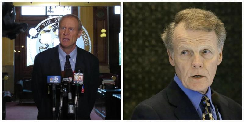 Republican Illinois Gov. Bruce Rauner and Democratic Illinois House Speaker Michael Madigan.