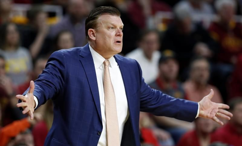 Former Oklahoma State coach Brad Underwood reacts to a call against his team during the first half of an NCAA college basketball game against Iowa State, Tuesday, Feb. 28, 2017, in Ames, Iowa.