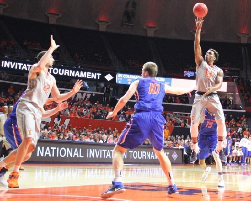 Illini senior point guard Tracy Abrams releases a shot over Boise State's Robin Jorch.