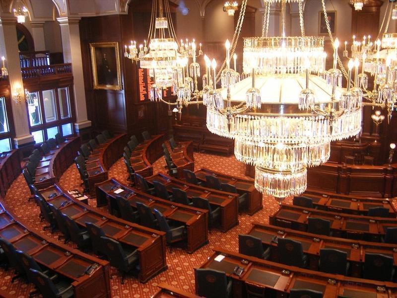 A legislative chamber at the Illinois Statehouse.
