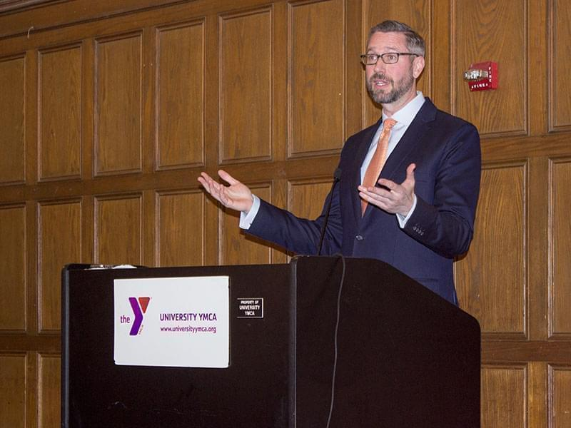 Illinois State Treasurer Mike Frerichs speaks at the University YMCA in Champaign on Friday, March 10.