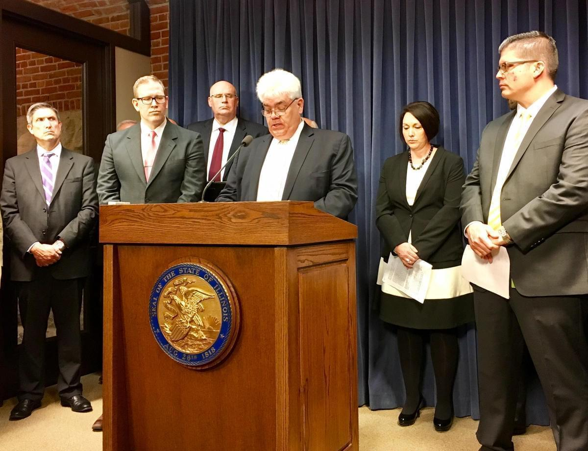 Art Ryan, superintendent of Cahokia schools, addresses media with other superintendents who are plaintiffs in a lawsuit against Gov. Bruce Rauner and the State Board of Education.