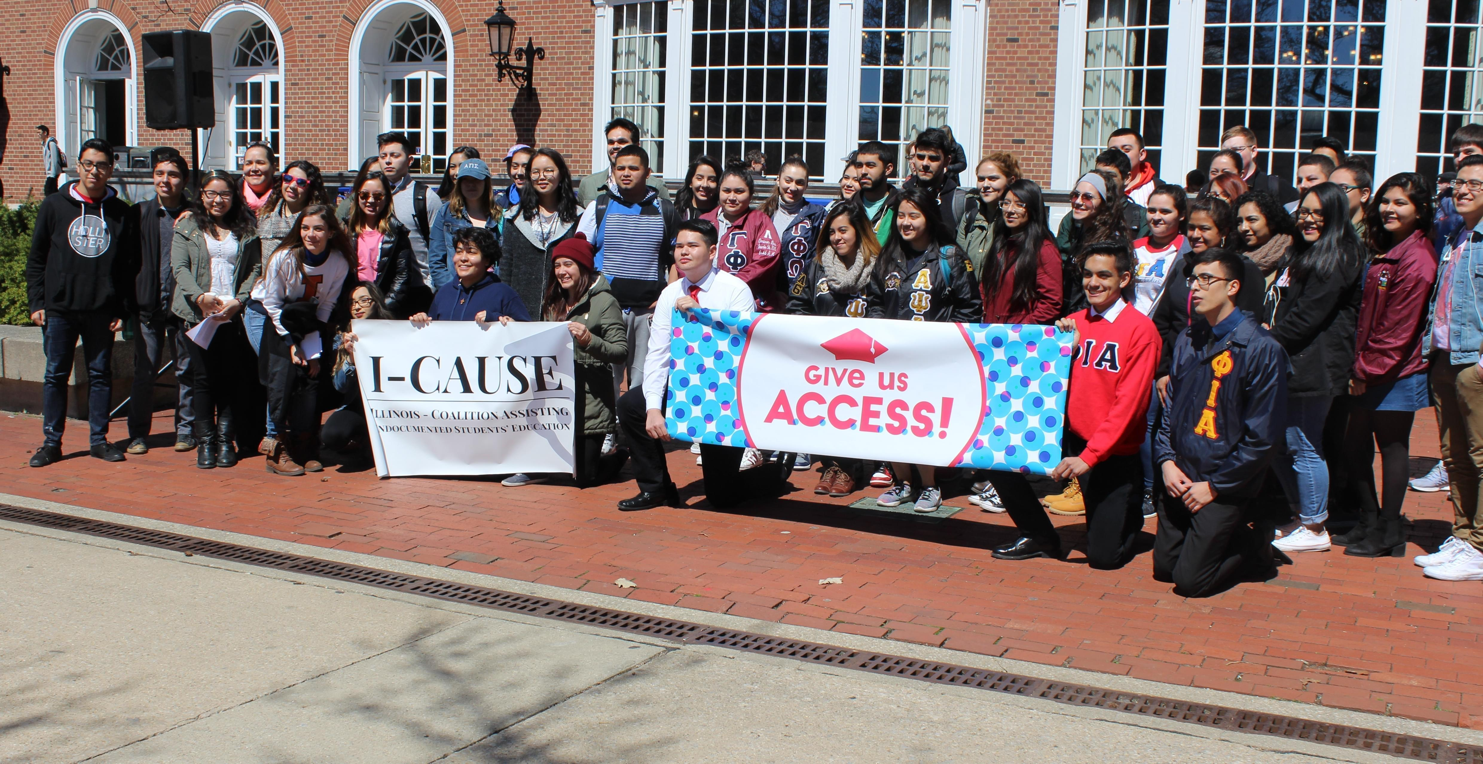 Guest speakers and supporters at the I-CAUSE rally at the U of I Urbana campus