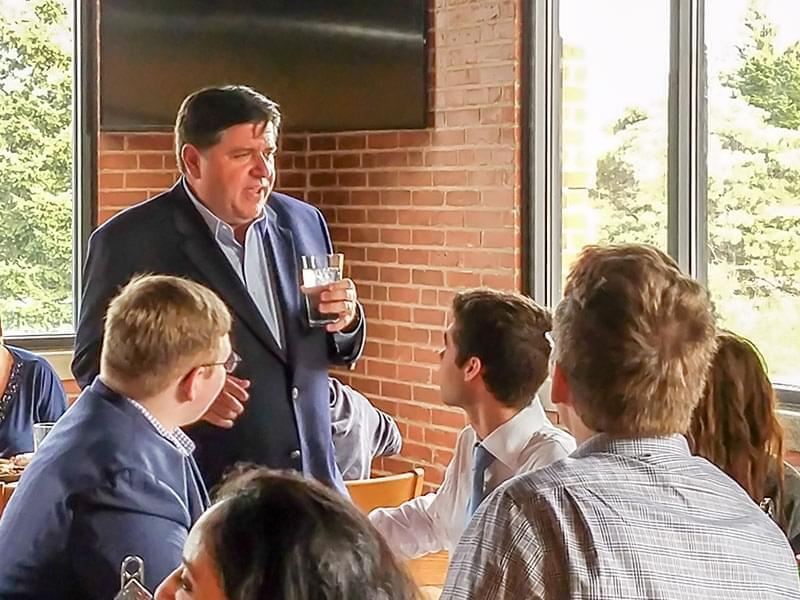 JB Pritzker meeting with students.