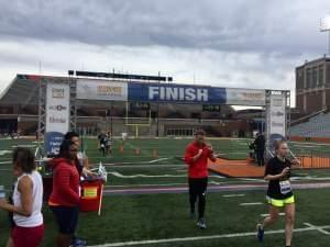 The finish line of the Illinois Marathon on Saturday morning.
